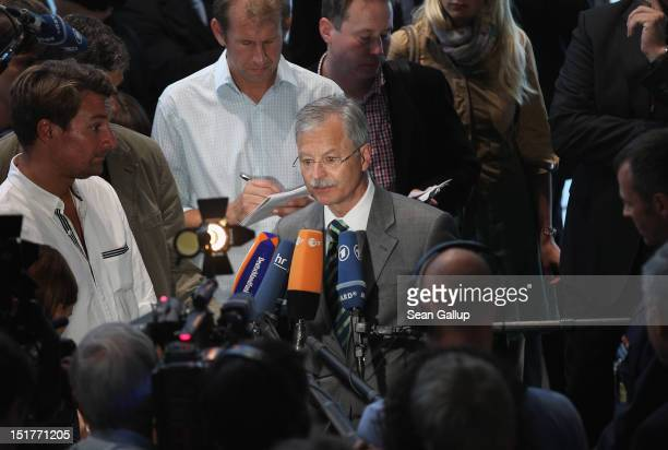Ulrich Birkenheier president of the German Military CounterIntellgence Service speaks to the media after testifying to the Bundestag investigation...