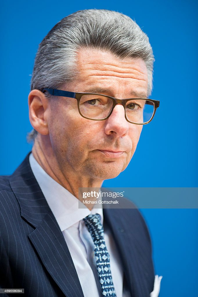 Ulrich Grillo President of the German Federation of Industry attends a press conference in federal press conference on November 25 2014 in Berlin...