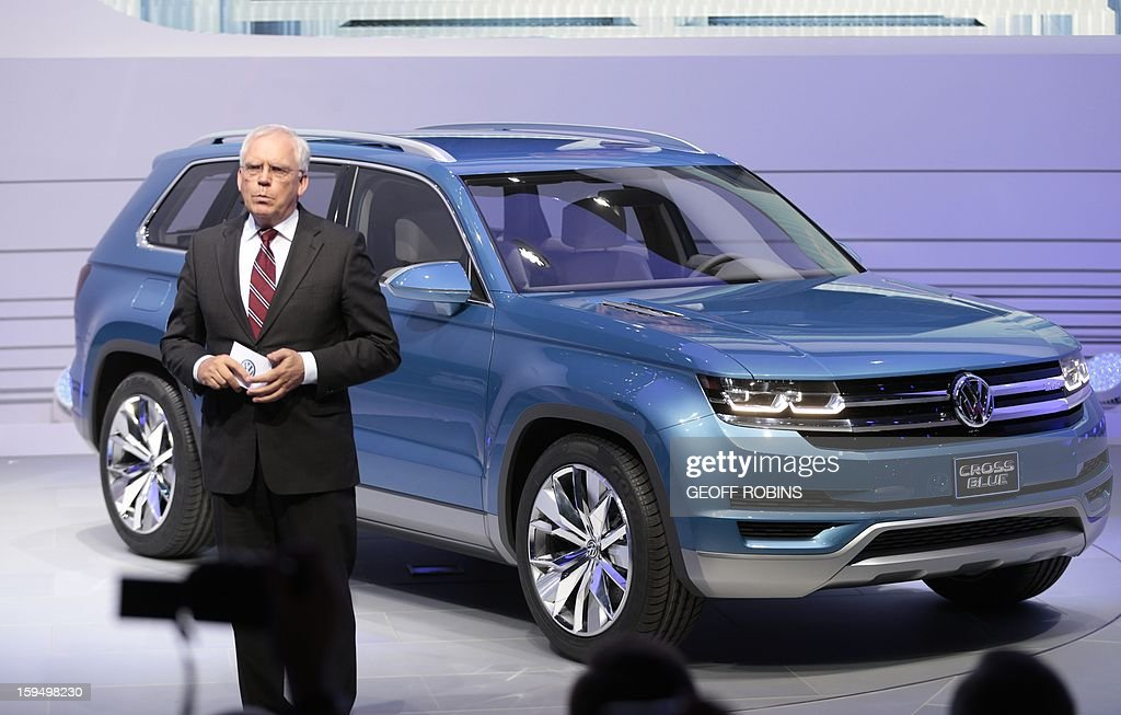 Ulrich Hackenberg, Volkswagen board member in charge of technical development, introduces the Volkswagen Cross Blue concept car at the 2013 North American International Auto Show in Detroit, Michigan, on January 14, 2013. AFP PHOTO/Geoff Robins