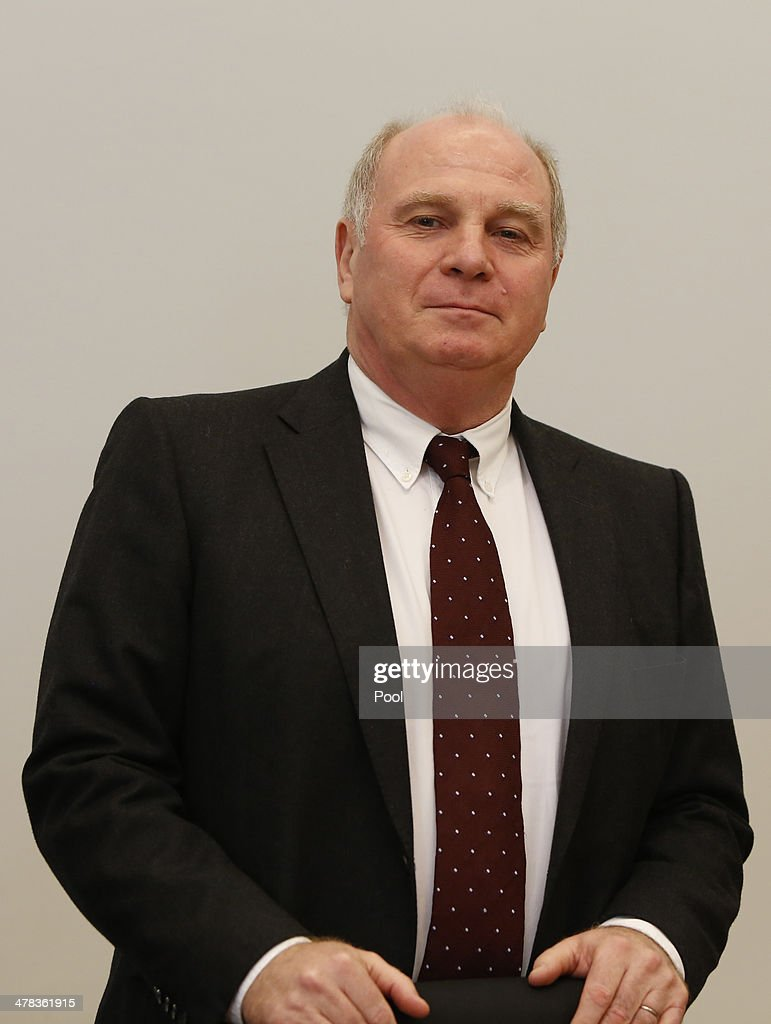 Ulrich Hoeness, President of German Bundesliga football club Bayern Munich stands in the courtroom during his trial for tax evasion at the Higher Regional Court of Munich on March 13, 2014 in Munich, Germany. Hoeness is accused of tax evasion by siphoning more than 33million Euros into a Swiss bank account.