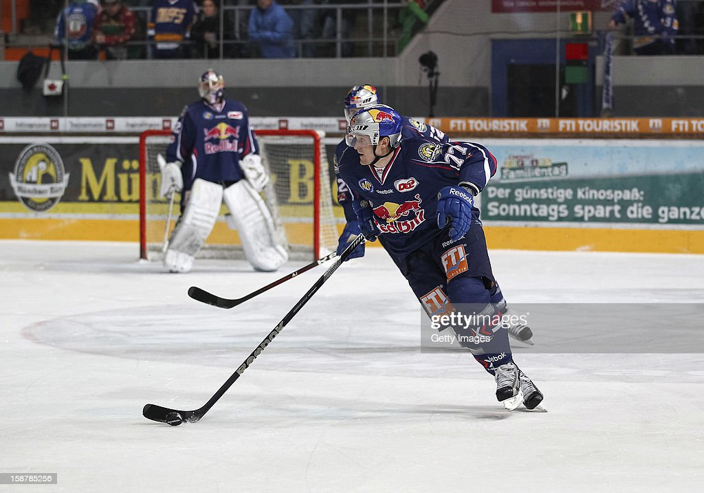 Ulrich Maurer of Red Bull Munich in action during the DEL ice hockey game between Red Bull Munich and Hamburg Freezers at Olympia Eishalle on December 28, 2012 in Munich, Germany.
