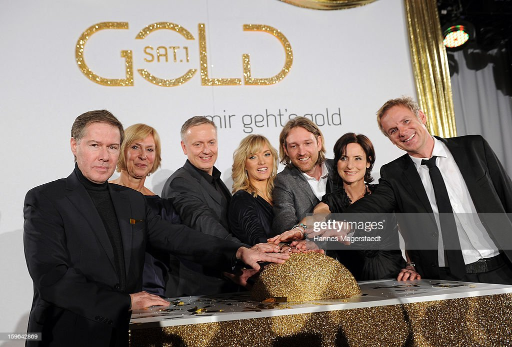 Ulrich Meyer, Gaby Papenburg, Juergen Hoerner, Katja Hofem, Marc Rasmus, Petra Glinski and Christian Muerau start the Sat.1 GOLD TV Channel Launch at the Filmcasino on January 17, 2013 in Munich, Germany.