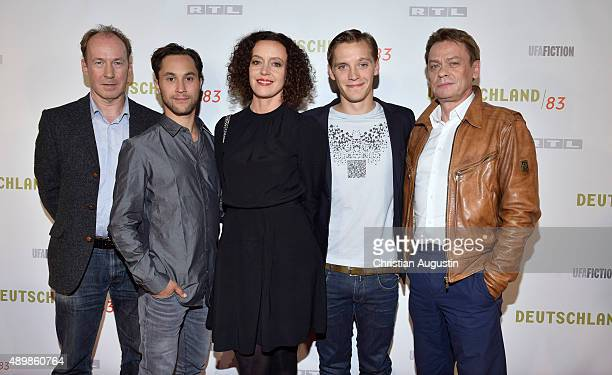 Ulrich Noethen Ludwig Trepte Maria Schrader Jonas Nay and Sylvester Groth attend RTL Program Presentation and premiere of TV Production 'Deutschland...