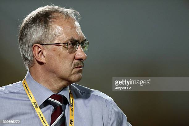 Ulrich Stielike coach of South Korea looks on during the 2018 FIFA World Cup Qualifier Final Round Group A match between Syria and South Korea at The...
