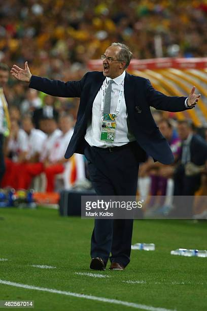 Ulrich Stielike coach of the Korea Republic appeals to the referee during the 2015 Asian Cup final match between Korea Republic and the Australian...