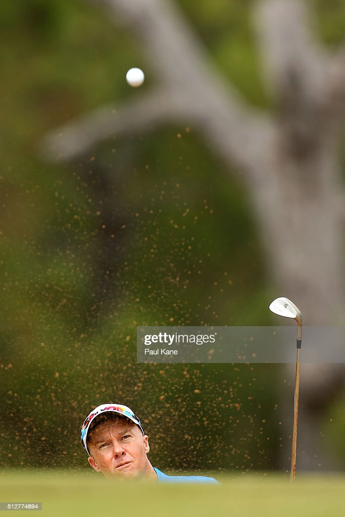 Ulrich Van Den Berg of South Africa plays out of a greenside bunker on the 14th hole during day four of the 2016 Perth International at Karrinyup GC...