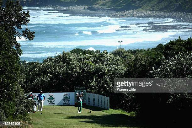 Ulrich Van den Berg of South Africa tees off on the 13th green during the second round of the Africa Open at East London Golf Club on March 6 2015 in...
