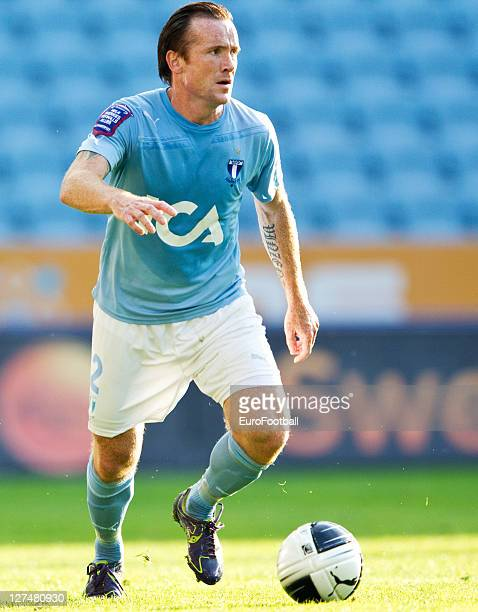 Ulrich Vinzents of Malmo FF in action during the Allsvenskan League between Malmo FF and AIK Solna at the Swedbank Stadion on September 25 2011in...