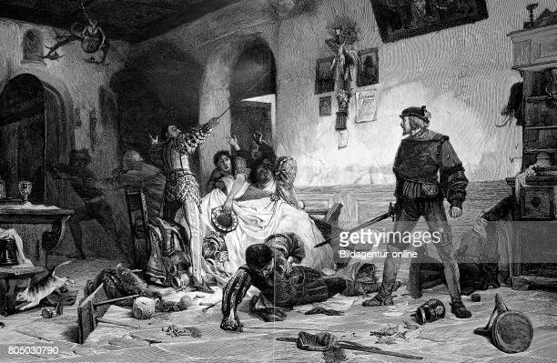 Ulrich von Hutten 21 April 1488 29 August 1523 was a German scholar poet satirist and reformer Here fighting with french nobles in the inn of Viterbo
