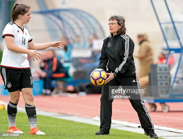 Ulrike Ballweg and Anika Metzner of Germany U16 Girls during the match between U16 Girls Germany v U16 Girls Netherlands on the UEFA International...