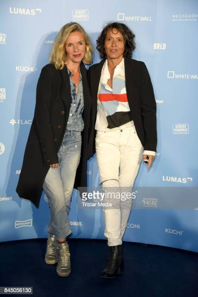 Ulrike Folkerts and her girlfriend Katharina Schnitzler attend the 'Gabo Fame presented by Lumas' Exhibition Opening at HumboldtBox on September 9...