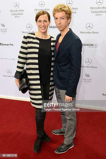 Ulrike Frank and guest attend the Glaw show during the MercedesBenz Fashion Week Berlin Autumn/Winter 2015/16 at Brandenburg Gate on January 21 2015...