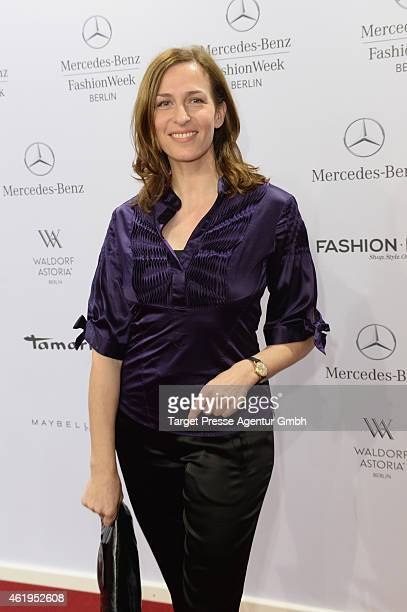 Ulrike Frank attends the Irene Luft show during the MercedesBenz Fashion Week Berlin Autumn/Winter 2015/16 at Brandenburg Gate on January 22 2015 in...