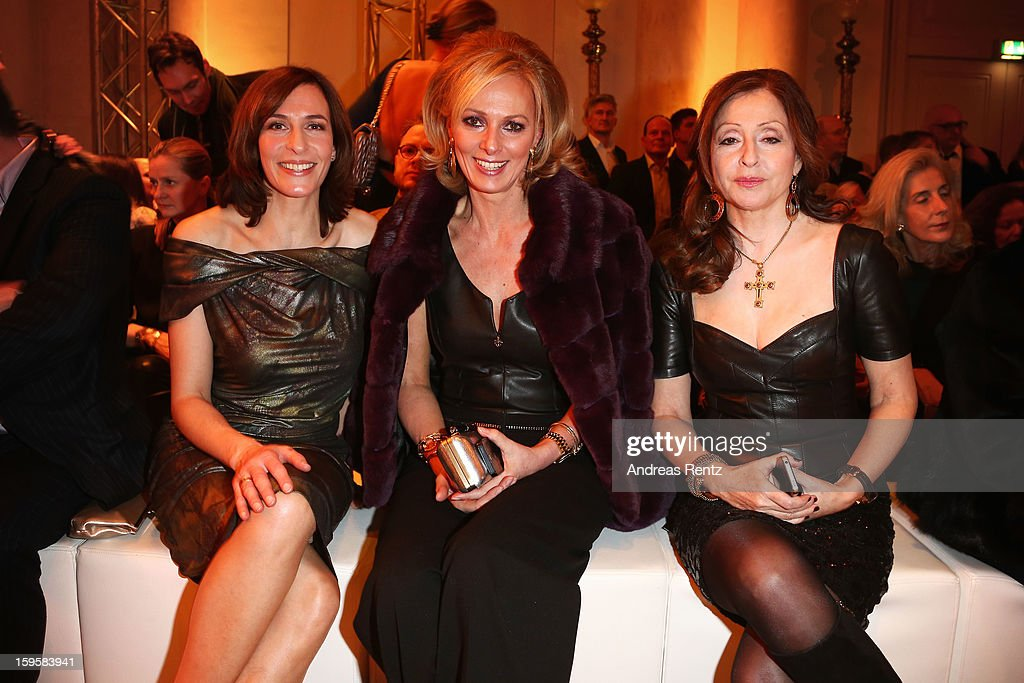 Ulrike Frank, Petra van Bremen and Vicky Leandros attend Basler Autumn/Winter 2013/14 fashion show during Mercedes-Benz Fashion Week Berlin at Hotel De Rome on January 16, 2013 in Berlin, Germany.