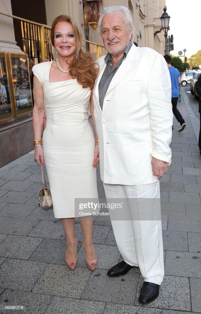 Ulrike Huebner and her husband Erich Kaub attend the Eclat Dore summer party at Hotel Vier Jahreszeiten Kempinski on July 23, 2014 in Munich, Germany.
