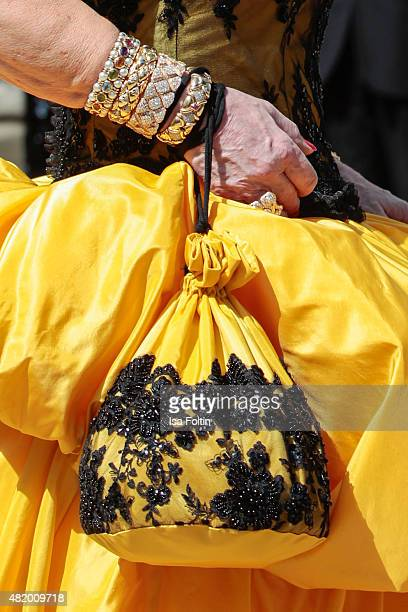 Ulrike Huebner bag and bracelet detail at the Bayreuth Festival 2015 Opening on July 25 2015 in Bayreuth Germany