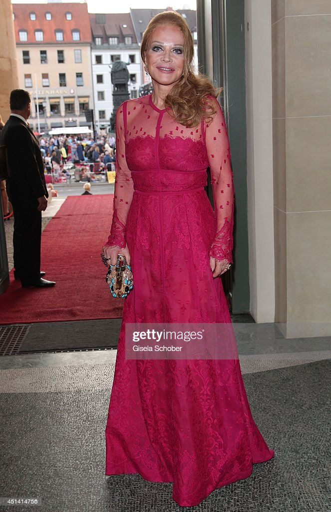 Ulrike Huebner, wearing a dress by Elie Saab attends the 'Guillaume Tell' Opera Premiere at the Opera Festival Opening In Munich on June 28, 2014 in Munich, Germany.