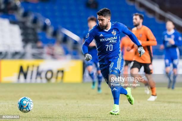 Ulsan Hyundai Midfielder Dimitrios Petratos in action during the AFC Champions League 2017 Group E match between Ulsan Hyundai FC vs Brisbane Roar at...