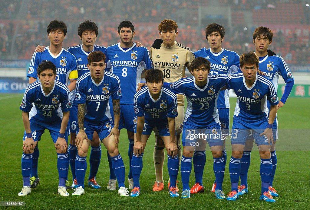 Ulsan Hyundai players line up prior to the AFC Asian Champions League match between Guizhou Renhe and Ulsan Hyundai at Guiyang Olympic Centre on April 1, 2014 in Guiyang, China.