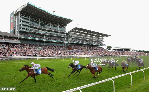 Ulshaw Bridge ridden by Daniel Tudhope wins The John Smith's Novice Median Auction Stakes at York Racecourse on July 15 2017 in York England