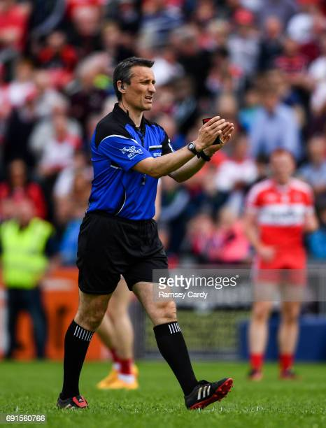 Ulster Ireland 28 May 2017 Referee Maurice Deegan during the Ulster GAA Football Senior Championship QuarterFinal match between Derry and Tyrone at...