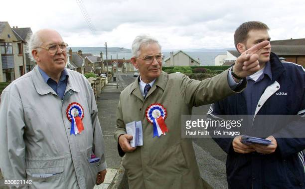 Ulster Unionist candidate for east londonderry William Ross with election staff canvassing in Portstewart Co londonderry