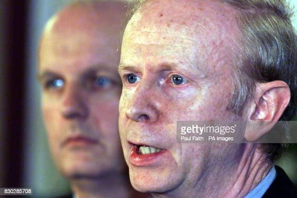 Ulster Unionist Chief Negotiator Sir Reg Empey with Michael McGimpsey speaking to the media after Senator George Mitchell's Good Friday Review was...
