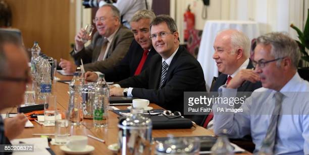 Ulster Unionist Jeffrey Donaldson during round table talks at The Europa Hotel Belfast