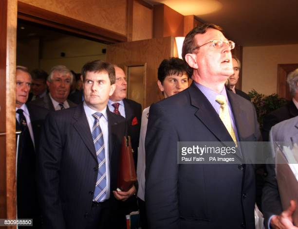 Ulster Unionist Leader David Trimble emerges with MP Jeffrey Donaldson from the Ulster Unionist Council meeting The 800 strong council met to debate...