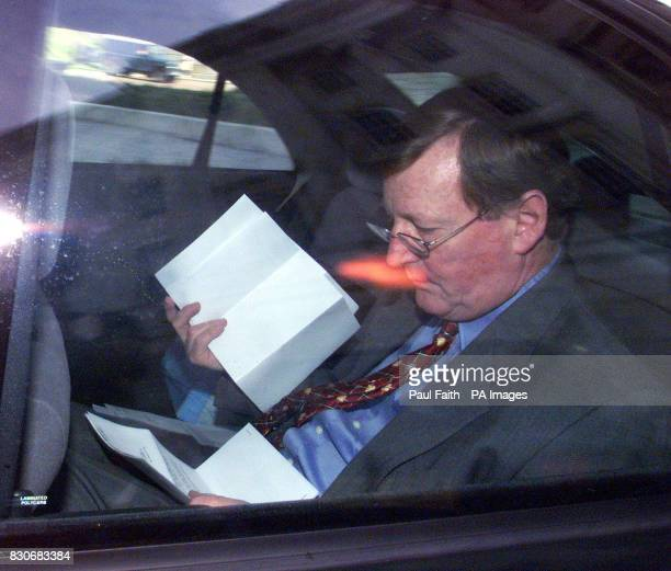 Ulster Unionist leader David Trimble leaving the latest round of peace talks at Stormont in Belfast after claiming the IRA can still save the peace...