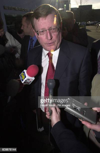 Ulster Unionist leader David Trimble speaks to the media before visiting the counting office for the Upper Ban constituency in Banbridge Co Down...