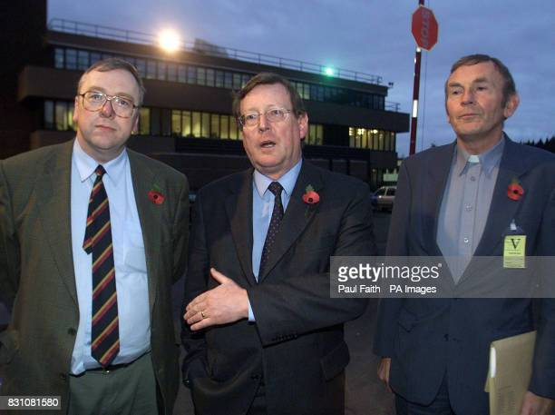 Ulster Unionist Party leader David Trimble at Castle Buildings Stormont with protestant Churchmen Rev Mervyn Gibson and the Rev William Murphy they...