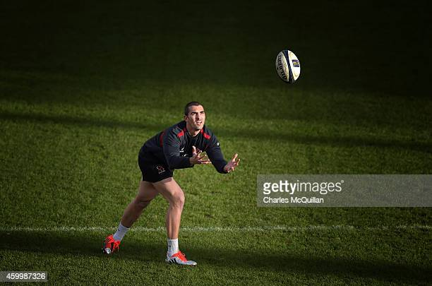 Ulster's Ruan Pienaar who makes his long awaited comeback from injury this weekend during the Captain's Run for the European Rugby Champions Cup...