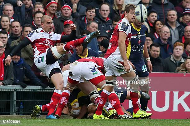 Ulster's South African scrumhalf Ruan Pienaar clears the ball upfield during the European Rugby Champions Cup rugby union match between Ulster and...