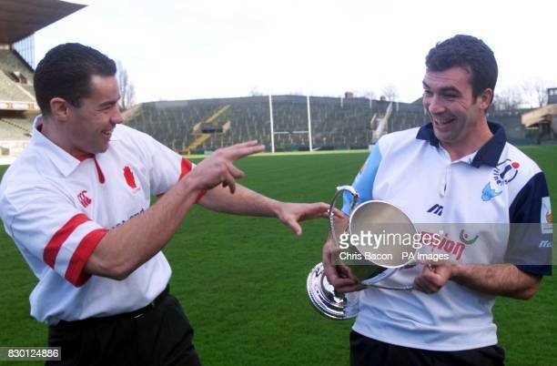 Ulster's wing foreward Andy Ward jokes with Colomiers' captain JeanLuc Sadourny at a news conference at Lansdowne Road Dublin ahead of the European...