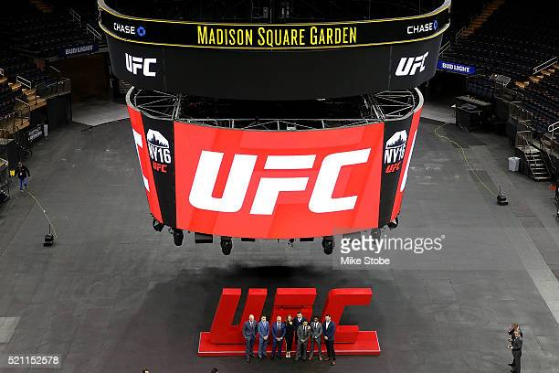 Ultimate Fighing Championship CEO Lorenzo Fertitta poses for a photo with UFC Fighters Ryan LaFlare Chris Wade Ronda Rousey Gian Villante Dennis...