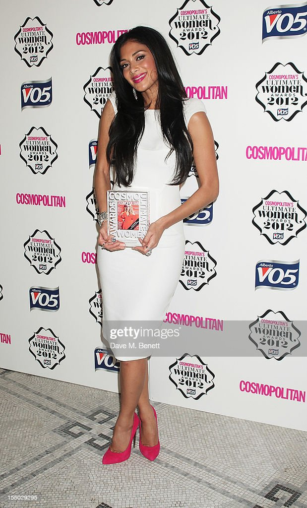 Ultimate Fun Fearless Female winner Nicole Scherzinger poses in the press room at the Cosmopolitan Ultimate Woman of the Year awards at the Victoria & Albert Museum on October 30, 2012 in London, England.