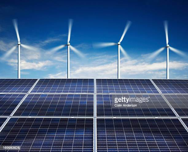 solar panels wind power stock photos and pictures getty