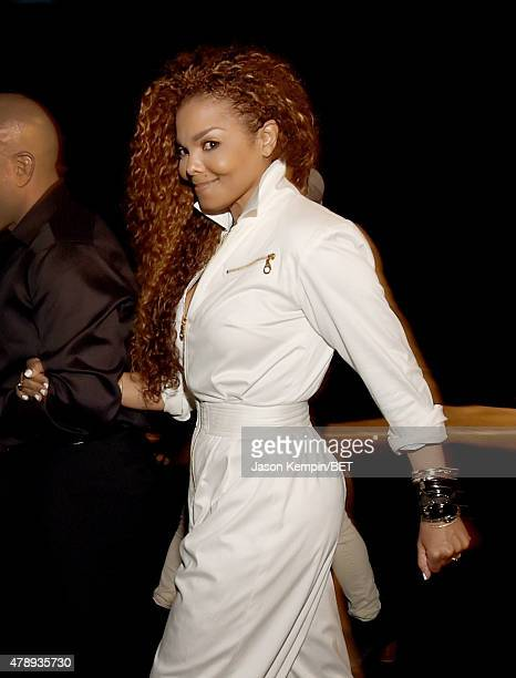 Ultimate Icon Honoree Janet Jackson poses backstage during the 2015 BET Awards at the Microsoft Theater on June 28 2015 in Los Angeles California