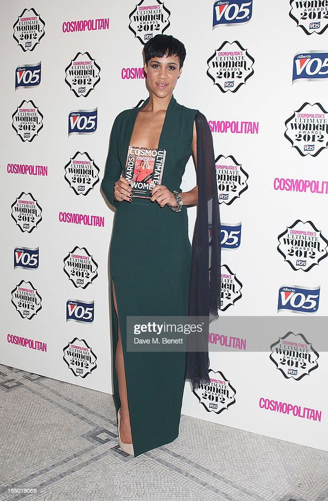 Ultimate Newcomer winner Zawe Ashton poses in the press room at the Cosmopolitan Ultimate Woman of the Year awards at the Victoria & Albert Museum on October 30, 2012 in London, England.