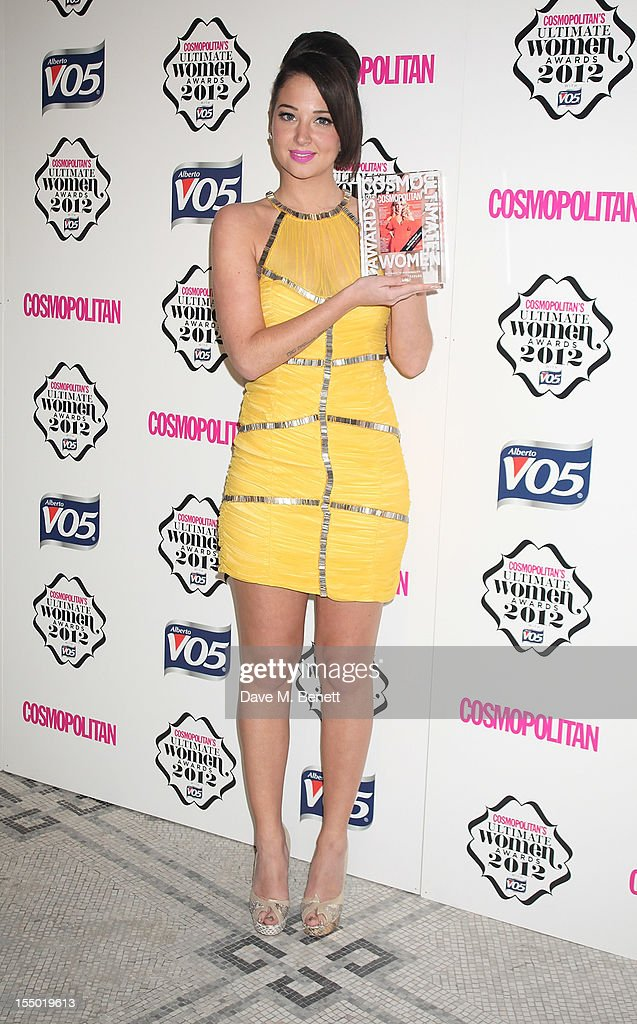 Ultimate TV Personality winner <a gi-track='captionPersonalityLinkClicked' href=/galleries/search?phrase=Tulisa+Contostavlos&family=editorial&specificpeople=6544720 ng-click='$event.stopPropagation()'>Tulisa Contostavlos</a> poses in the press room at the Cosmopolitan Ultimate Woman of the Year awards at the Victoria & Albert Museum on October 30, 2012 in London, England.