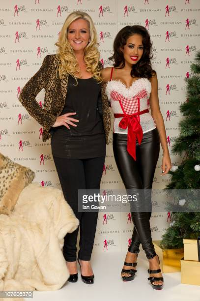 Ultimo owner Michelle Mone and Jade Ewen attend a photocall for Ultimo at Debenhams Oxford Street on December 15 2010 in London England