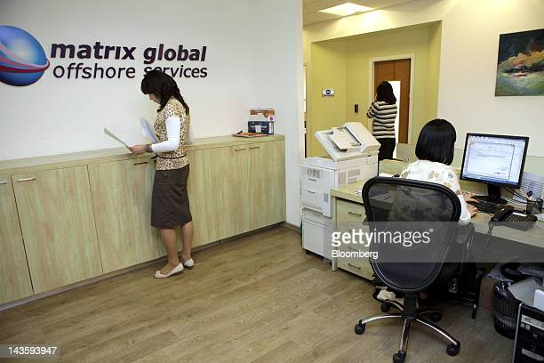 Ultra orthodox Israeli women work in the offices of Matrix Global a unit of Matrix IT Ltd in Modi'in Illit Israel on Sunday April 29 2012 Israel's...