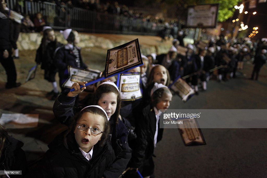 Ultra Orthodox Jewish children belonging to the Satmar Hasidic group headed by Satmar Rebbe of Williamsburg, Rabbi Zalman Leib Teitelbaum, gather in the conservative Mea Shearim neighbourhood on January 20, 2013 in Jerusalem, Israel. The Israeli general election will be held on January 22.