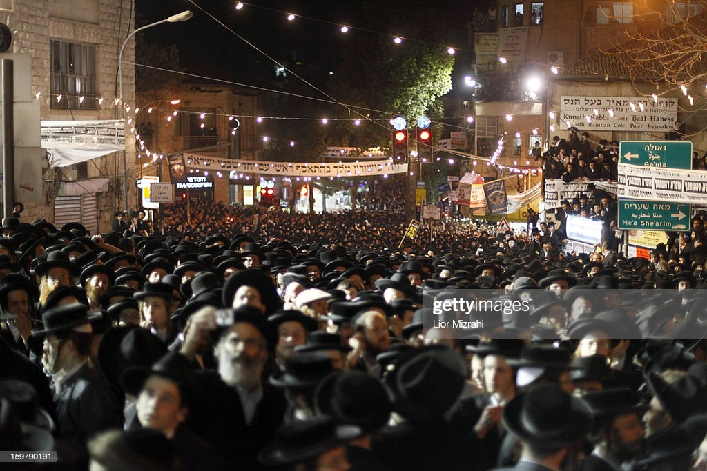 Ultra Orthodox Jews gather during an anti-election rally in the conservative Mea Shearim neighbourhood on January 20, 2013 in Jerusalem, Israel. The Israeli general election will be held on January 22.
