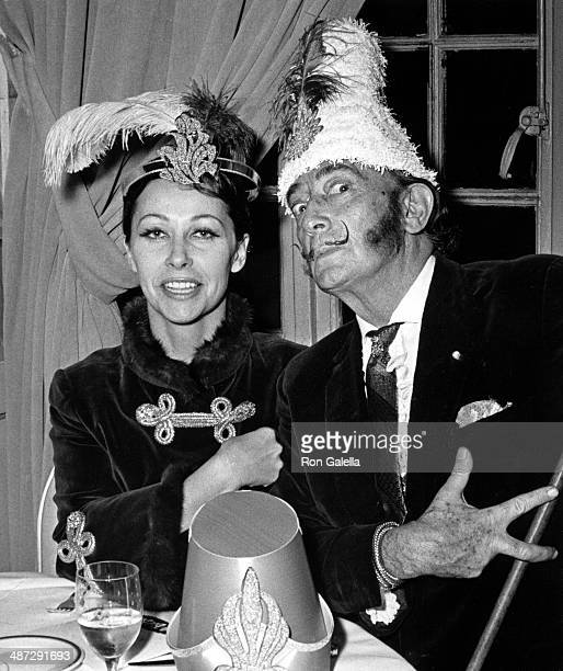 Ultra Violet and Salvador Dali attend 20th Annual Le Bal Blance Russian New Year's Eve Celebration on January 13 1969 at the St Regis Hotel in New...