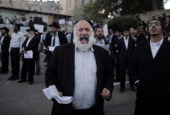 UltraOrthodox Jewish men protest against Pope Francis' upcoming visit to the Holy Land on May 12 2014 in the Old City of Jerusalem near King David's...