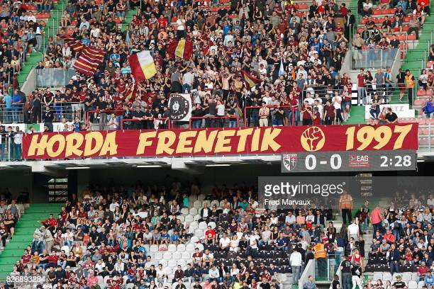 Ultras fans of Metz during the Ligue 1 match between Metz and EA Guingamp on August 5 2017 at Stade Symphorien in Metz