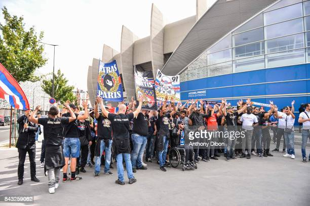 Ultras fans of PSG during press conference of new signing player of Paris Saint Germain Kylian Mbappe on September 6 2017 in Paris France