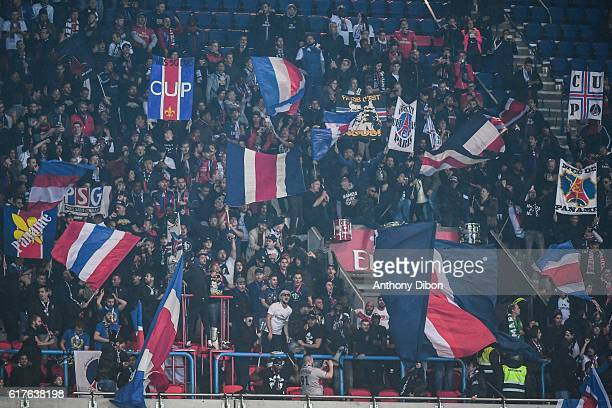 Ultras of Paris during the Ligue 1 match between Paris Saint Germain and Marseille at Parc des Princes on October 23 2016 in Paris France
